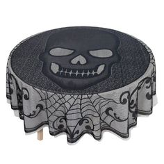 41 Cool Halloween Products at Target — All For Under $20! Skull Lace Tablecover Halloween Skull Lace Round Fabric Tablecover ($17)