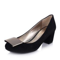 【妙丽millies LSZ02AQ3 黑色】MILLIE'S/妙丽黑色绒面羊皮女皮鞋LSZ02AQ3