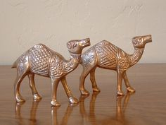 Vintage Pair Brass Camels Hollywood Regency