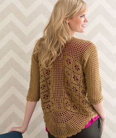 """Red Heart: Spirited Cardigan - free crochet pattern by Nazanin S. Fard. Finished bust sizes  [36 (40, 43½, 47, 50½)""""] Dk weight, 3.75mm hook."""