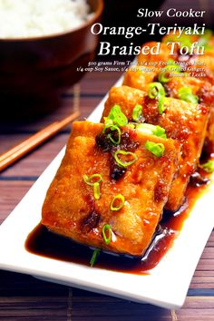 Slow Cooker Orange-Teriyaki Tofu A fresh take on the Asian favorite Teriyaki dish. Going on Tofu Slow Cooker Recipe, Vegan Slow Cooker, Slow Cooker Recipes, Crockpot Recipes, Tofu Recipes, Vegetarian Recipes, Easy Recipes, Teriyaki Tofu, Teriyaki Sauce