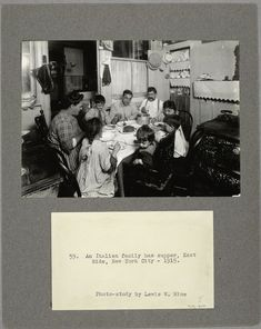 An Italian family has supper, East Side, New York City, 1915