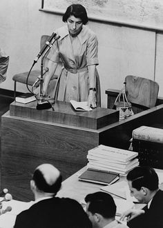 Zivia Lubetkin testifying at Adolf Eichmann war crimes trial in Jerusalem. She was a leader in the Polish Jewish Resistance during WWII, and fought in the Warsaw Ghetto Uprising.  After the war she lead the rehabilitation of the Holocaust victims and entered Palestine in 1946.