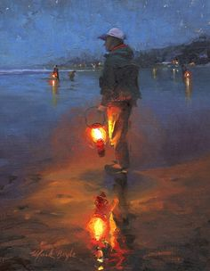 Beautiful Oil Paintings by Mark Boyle Nocturne, Guache, Art Plastique, Beach Art, Animes Wallpapers, Aesthetic Art, Figurative Art, Landscape Paintings, Art Oil Paintings