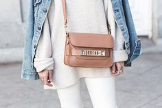 Zara winter white sweater and pants, Proenza Schouler PS11 bag, Levi Denim Jacket Street Style