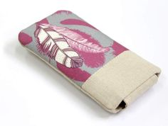 Fuchsia Tribal Feathers cellphone case padded by StudioPapilio, $19.99