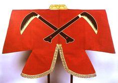 小早川秀秋 着用 陣羽織 猩々緋羅紗地違い鎌模様陣羽織(しょうじょうひらしゃじちがいがまもようじんばおり)東京国立博物館 jinbaori(Clothes to wear on top of the armor). warlord Hideaki Kobayakawa was wearing. 16 century