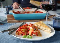 CANNELONI MED SPINAT OG RICOTTA Weekly Menu, Ricotta, Mozzarella, Recipies, Food And Drink, Pasta, Chicken, Dinner, Ethnic Recipes