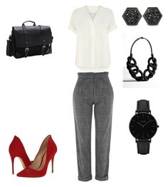 """""""Plaid pants"""" by charlene-buchan on Polyvore featuring Warehouse, Topshop, Schutz, CLUSE, West Coast Jewelry and Bellino"""