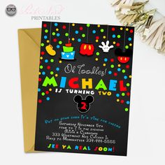 Mickey mouse birthday invitation chalkboard printable - Pink Nerd Printables