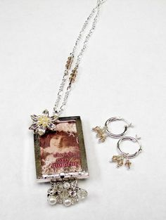 Mixed Media Photo Frame Necklace with Earrings