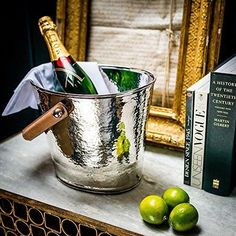 NEW! Leather Handled Wine Cooler Ice Bucket - Champagne Hammering | eBay