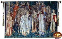 Beautiful Medieval Holy Grail knight Vintage Fine woven Tapestry Wall Hanging  $80 + free s/h