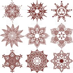 Mehndi Snowflakes royalty-free stock vector art