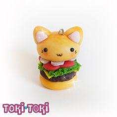 Burger Kitty Keychain Cute Kawaii Polymer Clay by MadeByTokiToki