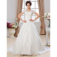 Lanting+Bride®+A-line+Petite+/+Plus+Sizes+Wedding+Dress+-+Classic+&+Timeless+Chapel+Train+Off-the-shoulder+Organza+with+–+USD+$+159.99