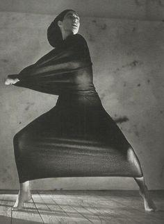 unknown model wearing yohji yamamoto by javier vallhonrat for vogue paris september 1990