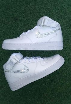 the best attitude 94bba a15f6 NIKE Mid Air Force Ones w Swarovski Crystals by sneakercandy Jordan  Sneakers, Nike Sneakers