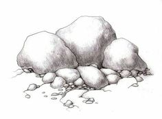 How to sketch Realistic rocks Drawing Rocks, Pencil Art Drawings, Realistic Drawings, Art Drawings Sketches, Painting & Drawing, Landscape Sketch, Landscape Drawings, Cool Landscapes, Object Drawing