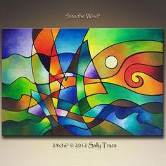 Abstracte kunst afdrukken giclee op canvas door SallyTraceFineArt