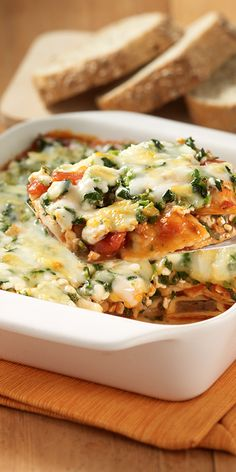 Chef Boyardee Ravioli layered with cottage cheese, spinach and Italian blend cheese for an easy lasagna-type casserole.