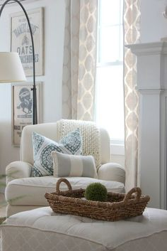 Ralph Lauren Hamptons style - I could sleep in that chair, with that ottoman, by that window, with the beach breeze blowing in...