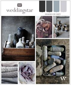 Inspired by Color: Shades of Grey. You don't need huge pops of color to have a beautiful wedding. This color palette is beautiful and elegant