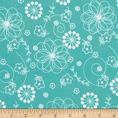Kimberbell Little One Flannel Too! Doodles Teal from @fabricdotcom  Designed by Maywood Studios, this double napped (brushed on both sides) flannel is perfect for quilting and apparel. Colors include teal and white.