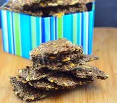 Crispy gluten free crackers full of fiber and omega3 from the flax, chia and sunflower seeds.
