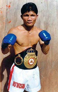 Khaosai Galaxy (Thai: เขาทราย แกแล็คซี่, born, May 15, 1959) is a former professional Thai super flyweight boxer and Muaythai kickboxer. Khaosai defended his WBA world title 19 times in seven years (1984–1991), winning 16 of his title fights by knockouts. A member of the International Boxing Hall of Fame he is widely considered as one of the greatest boxing champions of all time. He is listed #19 on Ring Magazine's list of 100 greatest punchers of all time.     Source : wikipedia.org