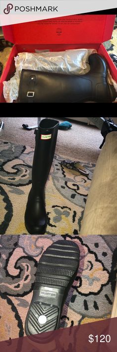 Hunter rainboots Brand new box included, hunter brand rain boots. These boots are brand new and have never been worn, I'm only selling them because I ordered the wrong size. They are super cute and perfect for these months!! They are even cuter than normal rain boots and would look sooo adorable with many outfits!! They are a closet ESSENTIAL !!!best offer :) Hunter Boots Shoes Winter & Rain Boots