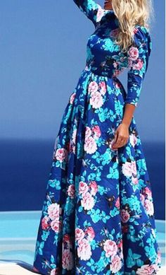 Summer: women's blue floral print maxi dress with 3/4 sleeves and modest high neckline available in S-XL
