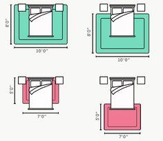 Дизайнерский ковер на пол: новый взгляд на оформление пола? (фото) http://happymodern.ru/kover-na-pol-45-foto-perezhitok-proshlogo-ili-stilnaya-detal-interera/ Как правильно (и какого размера) постелить ковер в спальне? Вверху: правильные варианты Внизу: неправильно