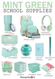 school supplies 15 Cute Mint Green School Supplies (You Will Fall in Love With) Dedicated to mint green lover. Discover school supplies in mint green. Middle School Supplies, Middle School Hacks, School Supplies Highschool, High School Hacks, School Kit, Life Hacks For School, College Supplies, Back To School Stuff, Decorate School Supplies