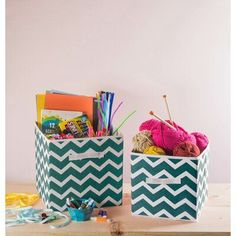 Ebern Designs Chevron Nonwoven 2 Piece Fabric Cube Set #MakingClothesFromOldClothes Fabric Storage Bins, Paper Storage, Chevron, Recycle Old Clothes, Stackable Bins, Teal Fabric, Woven Fabric, Cube Organizer, Organizers