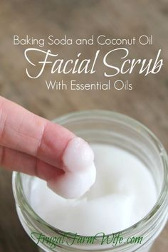 Baking Soda Face Wash | 1/3 cup baking soda, 2 Tablespoons coconut oil, 5-10 drops of Frankincense oil (optional), 5 drops of tea tree oil (optional) Directions: Mix all ingredients together and store in an airtight container.  To use: Using small circular motions, gently rub a teaspoon or two into you skin. Rinse with warm water, and dry.