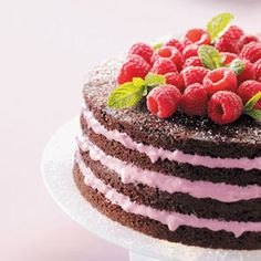 Light Chocolate Torte with Raspberry Filling Recipe from Taste of Home -- shared by Sharon Kurtz of Emmaus, Pennsylvania