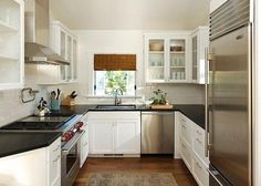 U Shape Kitchen Designs // preferably less cabinets above