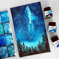 grafika art, blue, and drawing Painting Inspiration, Art Inspo, Color Inspiration, Galaxy Art, Painting & Drawing, Cavas Painting, Blue Painting, Amazing Art, Awesome Paintings