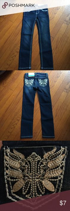 NWT Faded Glory Girls Jeans Dark blue jeans with adjustable waist. Design on back pockets and white stitching. Faded Glory Bottoms Jeans
