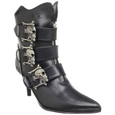 Demonia Women's 'Fury-06' Black Skull Buckle Ankle Boots  $74.95
