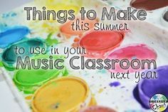 Organized Chaos: Teacher Tuesday: things to make this summer for your classroom next year. 12 different things to make for the elementary music classroom. Centers, games, composition / pitch / rhythm manipulatives, teacher toolbox desk organizer, behavior management board, even a DIY smartboard!