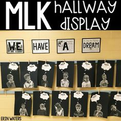 Erin Waters - This Martin Luther King, Jr. student activity acts as a hallway display or a bulletin board display - Writing Activities, Classroom Activities, Activities For Kids, Black History Month Activities, Classroom Ideas, Preschool Bulletin, Classroom Door, Holiday Activities, Preschool Crafts