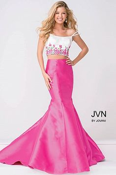 White and Pink Two Piece Mermaid Prom Dress JVN50204 #JVN #mermaiddress #promdress #formal