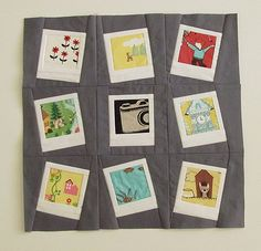 Polaroid blocks-great idea for photos printed on fabric to make a special wallhanging!