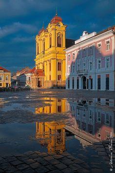 Timisoara - Union Square at sunset