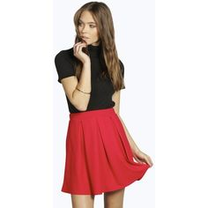 Boohoo Avah Crepe Box Pleat Skater Skirt ($14) ❤ liked on Polyvore featuring skirts, red, knee length pleated skirt, midi skater skirt, pleated midi skirt, red bodycon skirt and skater skirt