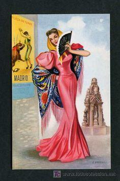 Vintage Travel Posters, Vintage Postcards, Vintage Images, Gypsy Style, Boho Gypsy, Madrid Metro, Monuments, Spanish Eyes, Illustrations Vintage