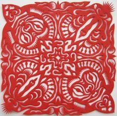 Chinese Paper Cut Art - Mongolian Pattern by Wang Hong Painting Patterns, Fabric Painting, Print Patterns, Red Paper, Paper Art, Paper Crafts, Chinese Element, Chinese Art, Guangzhou