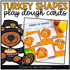 2D Shape Cards Thanksgiving Freebie by Kelly McFarland from Engaging Littles 2d Shapes Activities, Thanksgiving Math, Shaped Cards, Fine Motor Skills, Have Fun, Play Dough, Lettering, Turkey, Fall